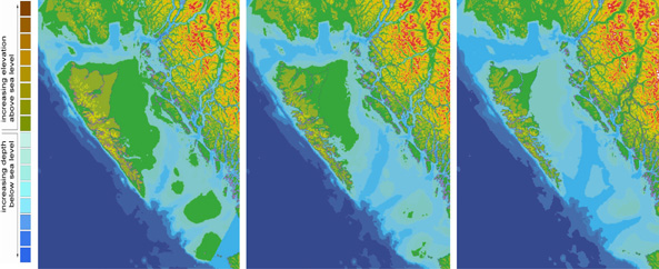 The shape of Haida Gwaii changed as the sea level rose