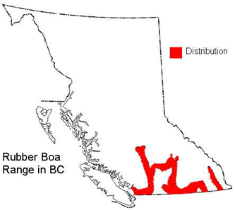 A map of British Columbia showing boa range in the dry valleys of the southern interior.