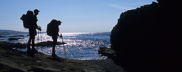 The 75 km West Coast Trail is part of the ancient paths and paddling routes used for trade and travel by First Nations.