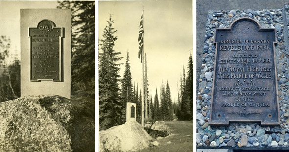3 photos showing the 1919 commemorative plaque