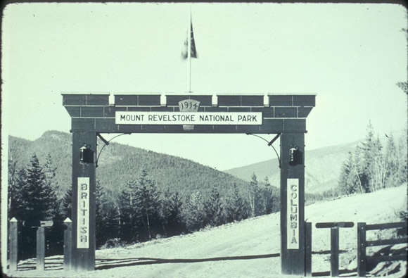 Historic image of the gateway to Mount Revelstoke National Park