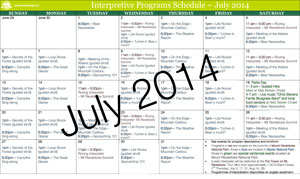 July 2014 Summer Interpretive Schedule