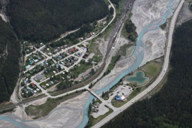 Kicking Horse River and the Village of Field © Parks Canada