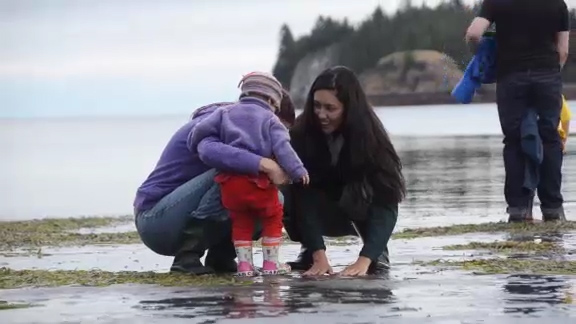 Gwaii Haanas, a family experience - A fun filled, family day at the Haida Heritage Centre at Kay Llnagaay. Two families get a tour of the Gwaii Haanas Legacy Pole while it was being carved. They also explore the beach at low tide and experience the rich intertidal life.