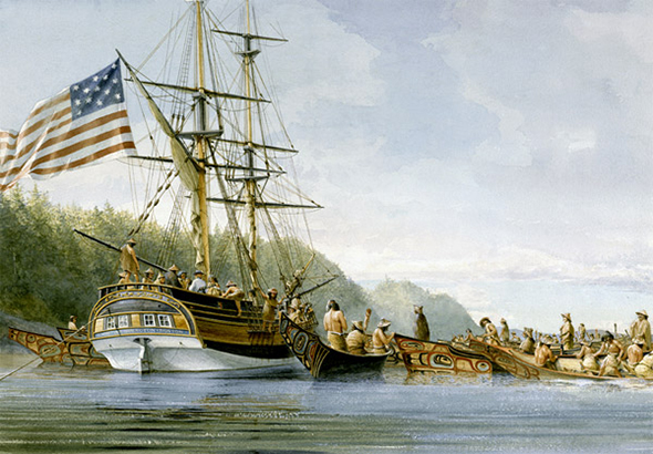 The Lady Washington is pictured at SGang Gwaay while trading with the Haida for sea otter pelts in 1791