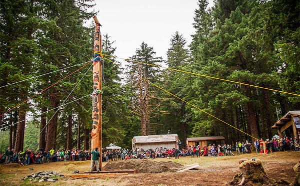 The Gwaii Haanas Legacy Pole is now standing in Hlk'yah GawGa (Windy Bay)