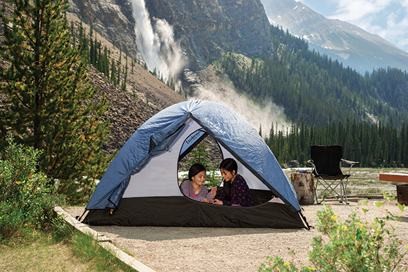 Two girls in a tent at Takakkaw Falls walk-in campground