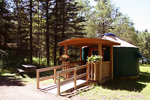 Accessible yurt in Wasagaming Campground