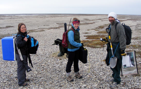 Jill Larkin, Chantal Thompson and David Walker on a water sampling mission