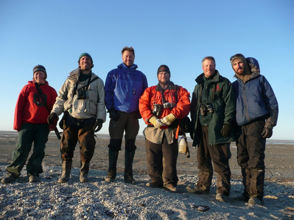 The team reaches the Hudson Bay Coast (left to right: Jill Larkin, Christian Artuso, Martin Scott, Dave Raitt, David Britton, Denis Funk)