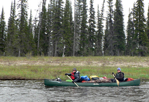 Paddling on the Owl River: Jill Larkin and Heather Stewart