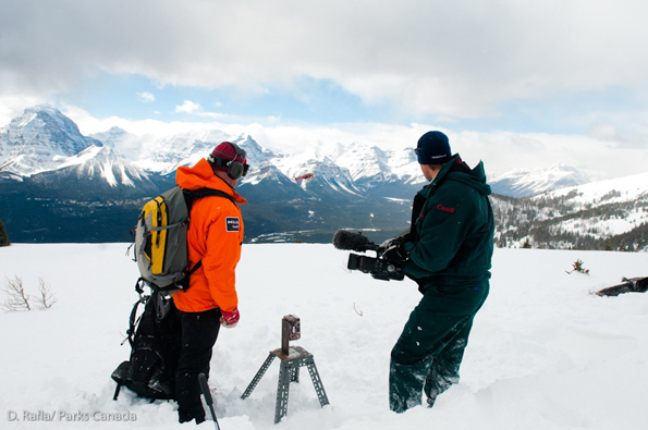 Setting up a remote camera to monitor a diversionary feeding site © Parks Canada / D. Rafla