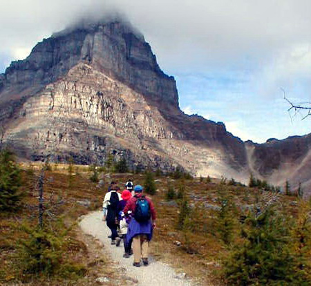 Hiking in a tight group in Banff National Park