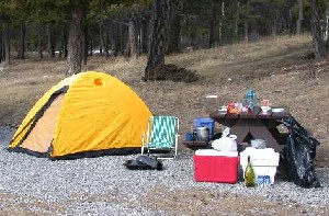 A campsite with food items left unattended