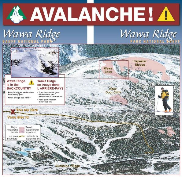 Aerial Relief Map of Wawa Ridge, Banff National Park showing significant avalanche terrain. Wawa Ridge is in the backcountry. People trigger avalanches here every year. What brings you here?
