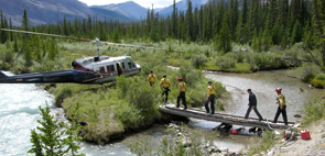 A crew from the Warden Rock wildfire