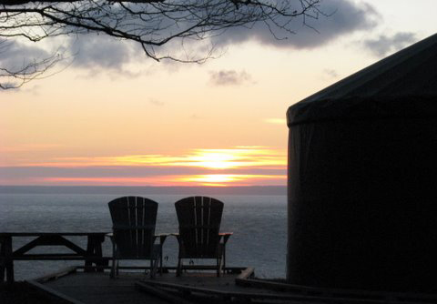 View of a yurt at sunrise. Amazing view of the Bay of Fundy.