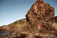 Hiker sitting on volcanic rocks at the Green Gardens shoreline.