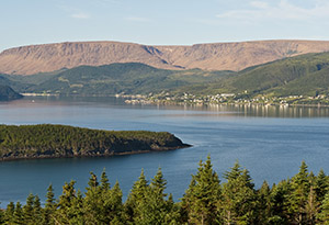 The Tablelands and Bonne Bay as viewed from Norris Point.