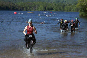 Participants in the Ingonish Triathlon at Freshwater Lake