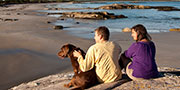 Hikers enjoying a rest with dog on teh beach at Kejimkujik Seaside