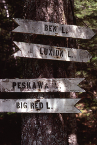 Directional signs from logging and mining era