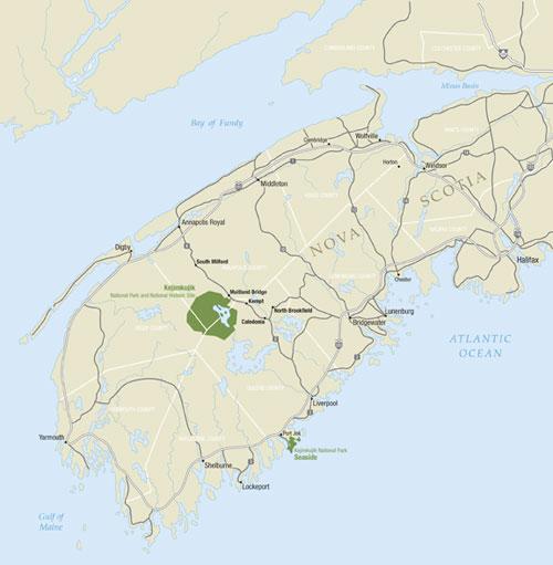 Map of southwest Nova Scotia