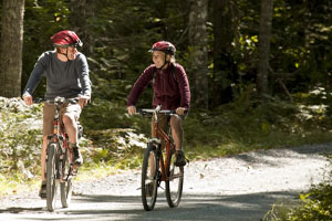 Two cyclists on a trail
