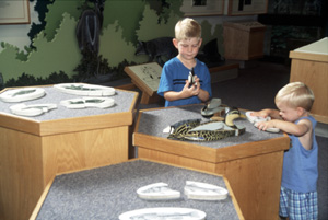 Children playing with puzzles at the Visitor Centre