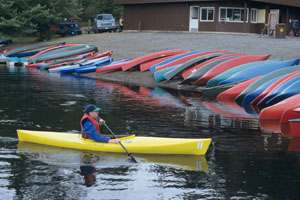 Canoes and kayaks at Jakes Landing