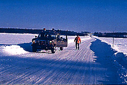 Ice crossing on winter road