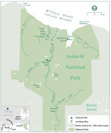 A downloadable pdf map image of Aulavik National Park that features major rivers, lakes, aircraft landing strips and cultural resource sites in the park