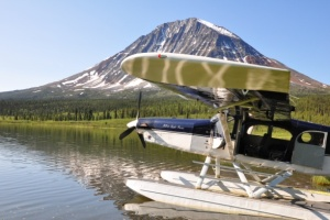 Passengers disembark from float plane