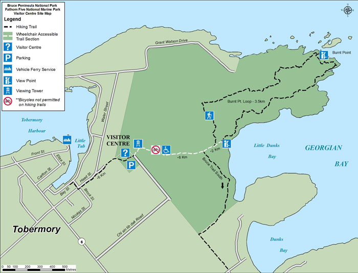 Map of Visitor Centre, Tower and Trails in Tobermory