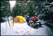 Camping at Cyprus Lake in the winter