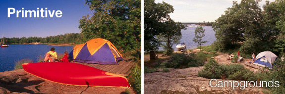 Primitive camping experience at Beausoleil Island and view from trail at Chimney Bay Campground
