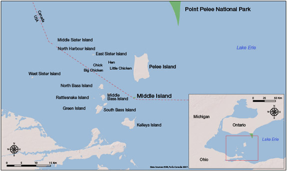 Map of Middle Island and surrounding islands