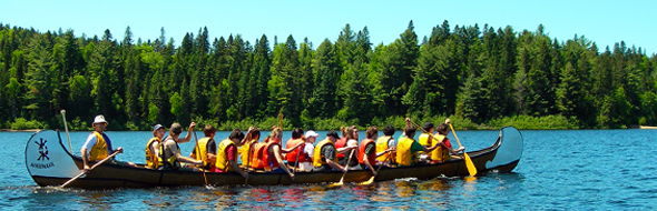 A group excursion in a rabaska canoe.