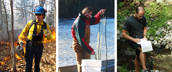 Mosaic of three photos of Resource Conservation Service employees.