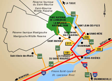 Regional map of La Mauricie with its main road accesses towards  La Mauricie National Park.