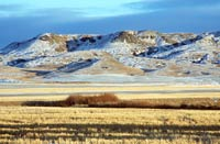 The impressive 70 Mile Butte lightly dusted by snow.  It is one of the highest points in the West Block of Grasslands