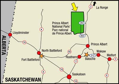 Map of area locating Prince Albert National Park within Saskatchewan.