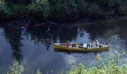One canoe on Kingsmere River seen from high on riverbank.