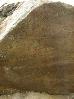 Standard daylight photograph of pictographs at Okotoks, Alberta