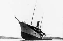 Gunilda aground on a rocky pinnacle