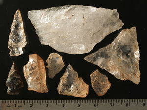 Quartz crystal and chert artifacts from a precontact site at Healy Pass, Banff National Park of Canada (Alta)