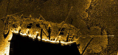 Side-scan sonar image of the Hamilton