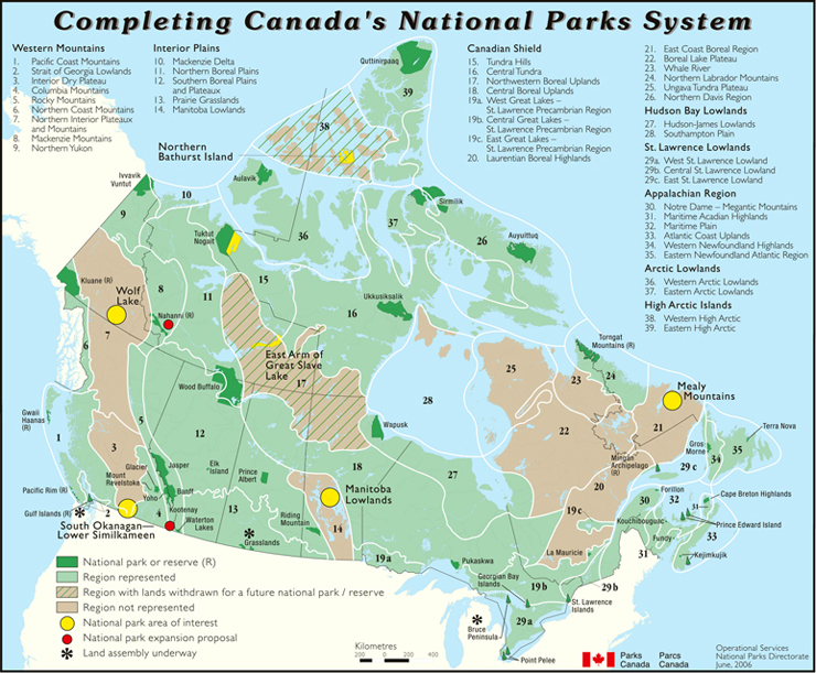 A map of Canada shows progress towards completing Canada's national park system