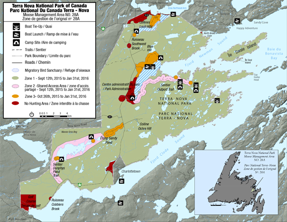 Map of Moose Management Area in Terra Nova National Park