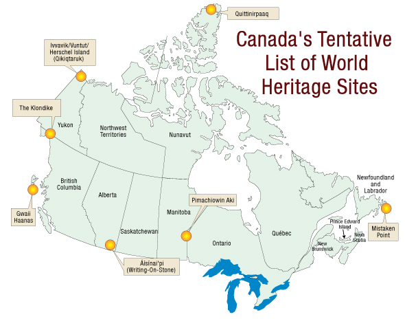 Map of Canada's Tentative List for World Heritage Sites